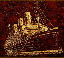 Golden ship headstone art by Paul Reay