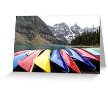 Colorful Canoes - Lake Moraine - Banff National Park Greeting Card