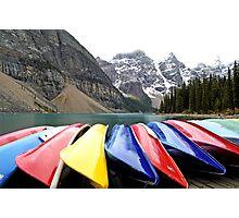 Colorful Canoes - Lake Moraine - Banff National Park Photographic Print