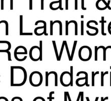 Arya's Kill List Sticker