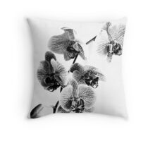 Black and White Phalaenopsis Orchid Throw Pillow