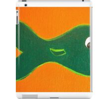 Green Fish on Orange by Holly Cannell iPad Case/Skin