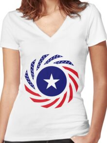 Liberian American Multinational Patriot Flag Series Women's Fitted V-Neck T-Shirt