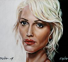 battlestar galactica - cylon 6 - tricia helfer - oil on canvas by gordon anderson
