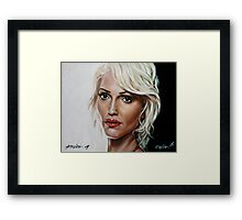 battlestar galactica - cylon 6 - tricia helfer - oil on canvas Framed Print