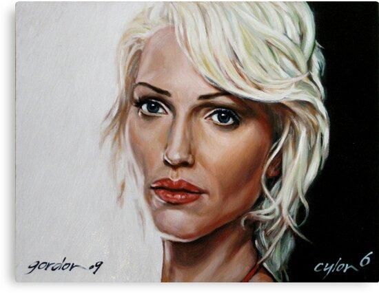 battlestar galactica - cylon 6 - tricia helfer - oil on canvas by gordon anderson