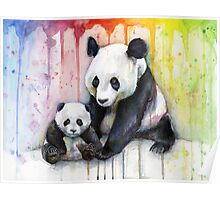 Pandas in the Rainbow Poster