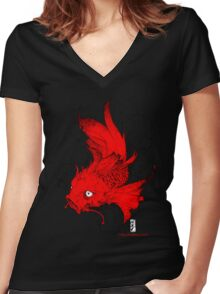 Koi | red Women's Fitted V-Neck T-Shirt