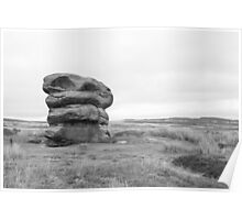 Lonely rock on moors Poster