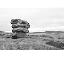 Lonely rock on moors Photographic Print