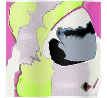 Abstract Pink Lime and Grey Poster