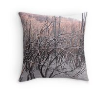 Blackened land and trees Throw Pillow