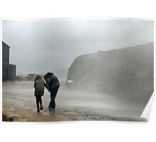 Caught By The Sea Spray..........at Lyme Harbour UK Poster