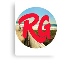 RG LOGO With Red Lettering and Beach Background  Canvas Print