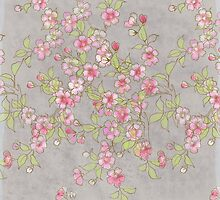 Watercolor Cherry Blossoms on Grey Wash by LSWalthery
