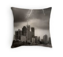 Stormy City Throw Pillow