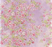 Watercolor Cherry Blossoms on Lavender Pink Wash by LSWalthery