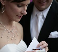Bride & Groom reveal a butterfly by Andrew Harris