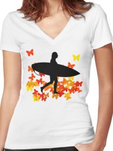 Butterfly surf - Wave rider  Women's Fitted V-Neck T-Shirt