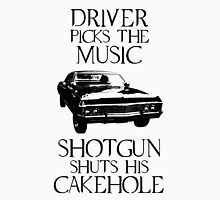 Driver picks the music, shotgun shuts his cakehole (Supernatural) Men's Baseball ¾ T-Shirt