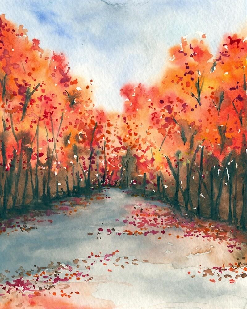 Autumn Journey - Landscape Watercolour by Brazen Edwards