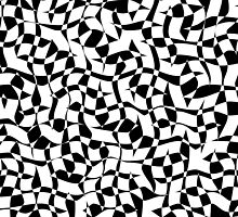 Wavy Black and White Organic Gaudi Influenced Free Form Geometric Tile Pattern by jocelynsart