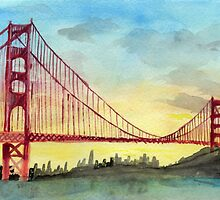 San Francisco Golden Gate Bridge Watercolor by SoderblomArt