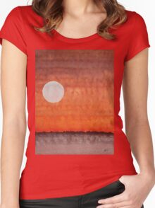 Moon over Mojave original painting Women's Fitted Scoop T-Shirt