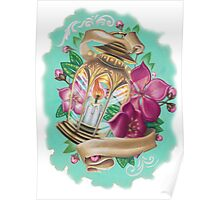 lantern with cherry blossoms Poster