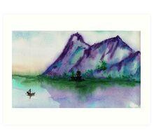Fishing at Dawn - Chinese Landscape Sumi-e Art Print