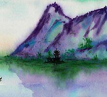 Fishing at Dawn - Chinese Landscape Sumi-e by Brazen Edwards