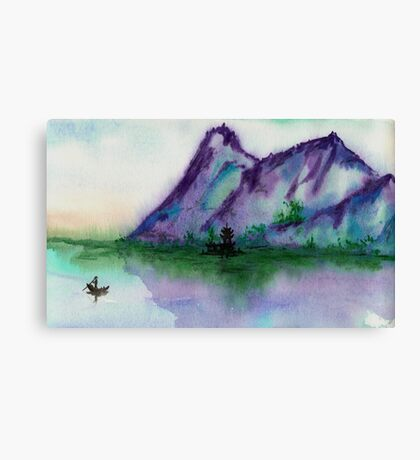 Fishing at Dawn - Chinese Landscape Sumi-e Canvas Print