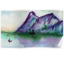 Fishing at Dawn - Chinese Landscape Sumi-e Poster