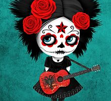 Sugar Skull Girl Playing Albanian Flag Guitar by Jeff Bartels
