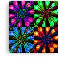 Neon Floral Tile Canvas Print