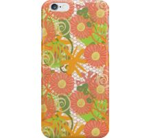 Garden Charm III:  Big Funky Flowers in Orange, Pink and Yellow iPhone Case/Skin