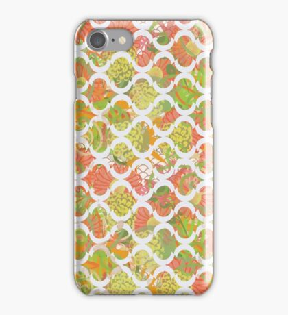 Garden Charm III:  Big Funky Flowers in Orange, Pink and Yellow (with white lattice) iPhone Case/Skin