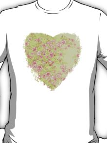 Watercolor Cherry Blossoms on Green Wash T-Shirt