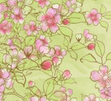 Watercolor Cherry Blossoms on Green Wash Sticker