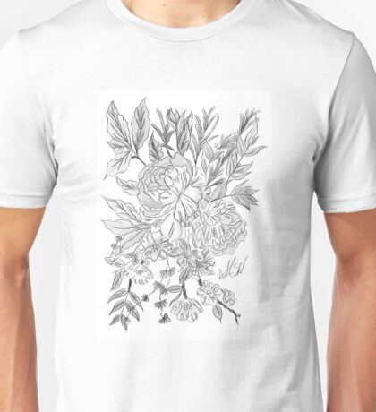 Black and White Floral Design  Unisex T-Shirt