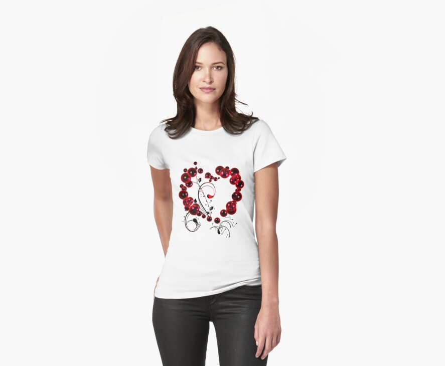 Red Love T Shirt by bamagirl38
