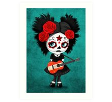 Sugar Skull Girl Playing Austrian Flag Guitar Art Print