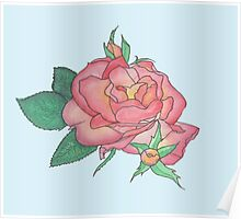 Ink and Watercolor Rose Poster