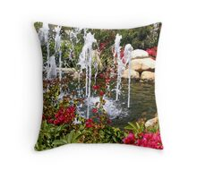 Fountain and Flowers Throw Pillow