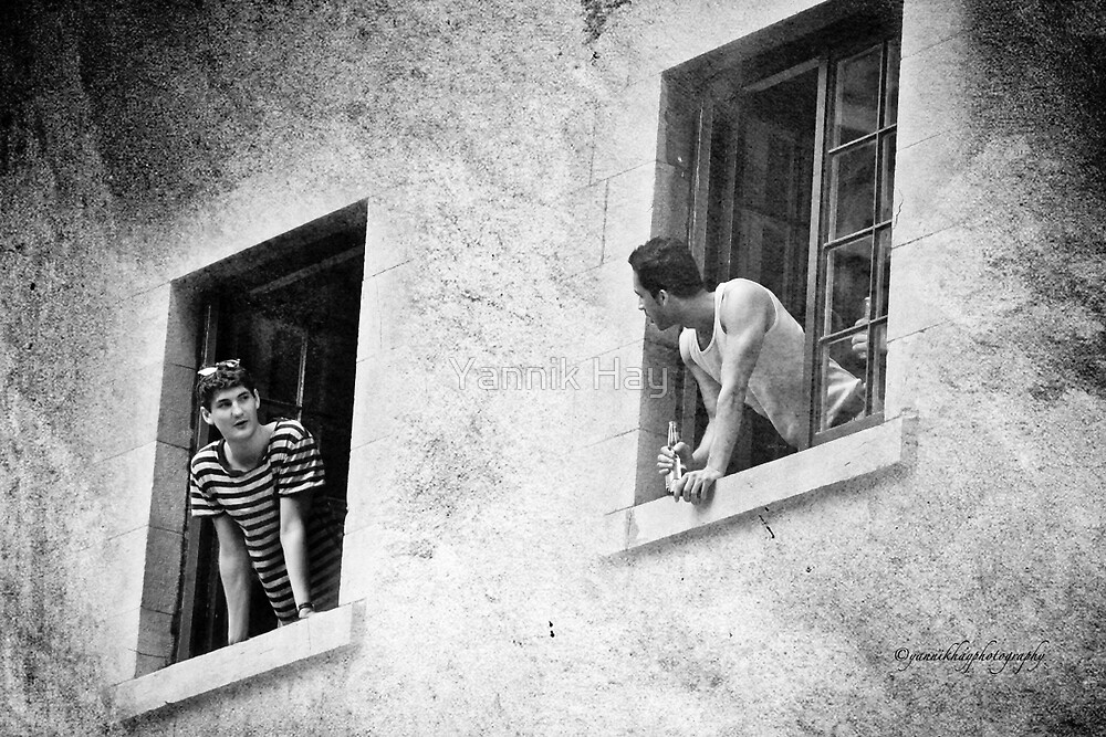 Neighbors Chit Chat - Black and White by Yannik Hay