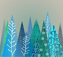 Evergreen Tree Art in Blue by gailg1957
