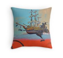 Illustration for SciPhi Journal issue #5 'HMS Mangled treasure' Throw Pillow