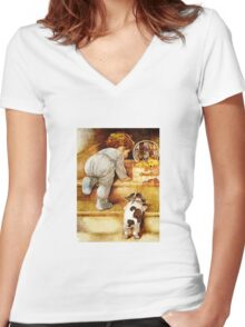 LEARNING THE STAIRS Women's Fitted V-Neck T-Shirt