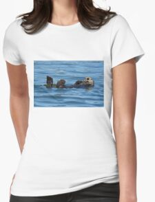 Nature Photo of Relaxed Sea Otter Womens Fitted T-Shirt