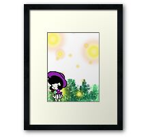 Picking Flowers with the Fireflies Framed Print